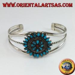 Rigid silver bracelet, teardrop turquoise flower