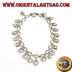 Bracciale in argento ad anelli cuori pendenti e campanellino