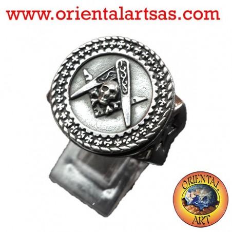 Anello simbolo massone squadra compasso e teschio