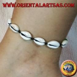 Cavigliera e bracciale doppio uso di conchiglie ciprea cauri, regolabile con palline rasta