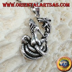 Серебряный кулон женщины-укротителя дракона (большой)