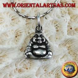 Ciondolo in argento Buddha dell'abbondanza bifacciale piccolo