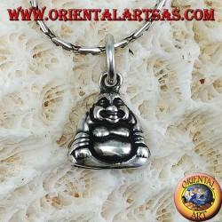 Silberner Buddha mit kleiner doppelseitiger Fülle
