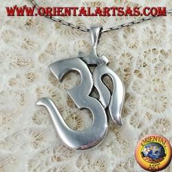 Silver pendant Oṁ Óm E Aum Sillaba (simple big)