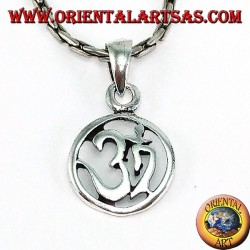 Silver medallion pendant with carved Oṁ Óm and Aum (Sacred syllable)