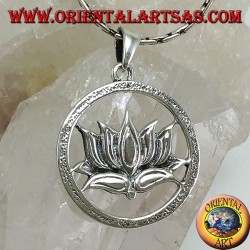 silver pendant Lotus flower in the circle