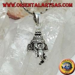 Ganesh Kopf Silber Anhänger mit Om auf der Stirn eingraviert