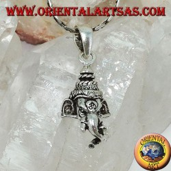 Silver pendant, Ganesh's head with om engraved on the forehead
