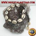 Anklet with 10 + 2 of cowrie cauri shells, adjustable black cord