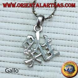 Pendente del gallo in argento simbolo del calendario cinese (ideogramma)