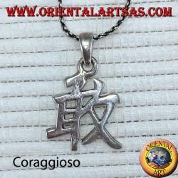 Brave silver pendant Chinese ideogram