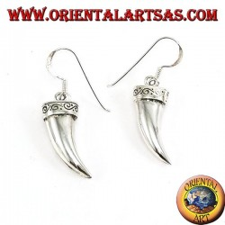 Silver elephant tusk earrings