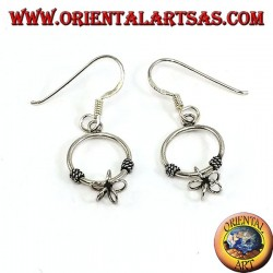 Silver earrings with a pendant circle