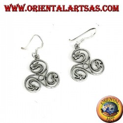 Celtic triskell silver earrings with dragon heads