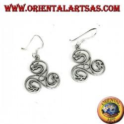 Orecchini in argento triskell celtico con teste di drago