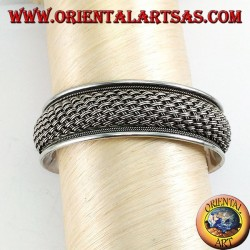 Silver bracelet with a handmade double thread net weave