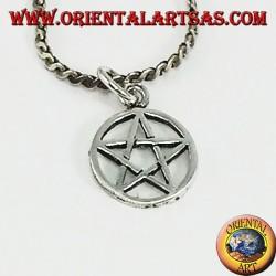 Ciondolo in argento a pentacolo stella intrecciata nel cerchio,  piccolo