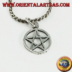 Silver pendant in pentacle star braided in the circle, small