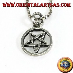 Pendant in reversed pentacle silver with tip down