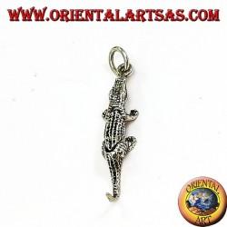 Ciondolo coccodrillo mobile  in argento (si muove in tre pezzi)