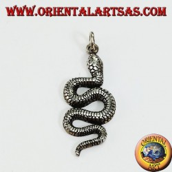 Python-shaped silver snake pendant