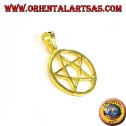 Ciondolo pentacolo (stella) nel cerchio in argento placcata in oro