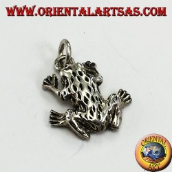 Pendant in silver three-dimensional frog anura