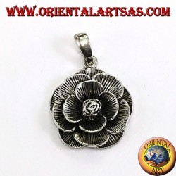 Silver pendant in the form of a rose flower (large)
