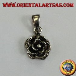 Silver pendant in the form of a rose flower