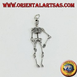 Pendant in silver, mobile skeleton composed of 10 moving parts