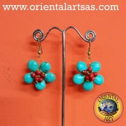 flower turquoise earring