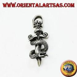 Pendant in silver dagger with cobra