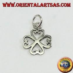Ciondolo in argento, quadrifoglio di quattro cuori