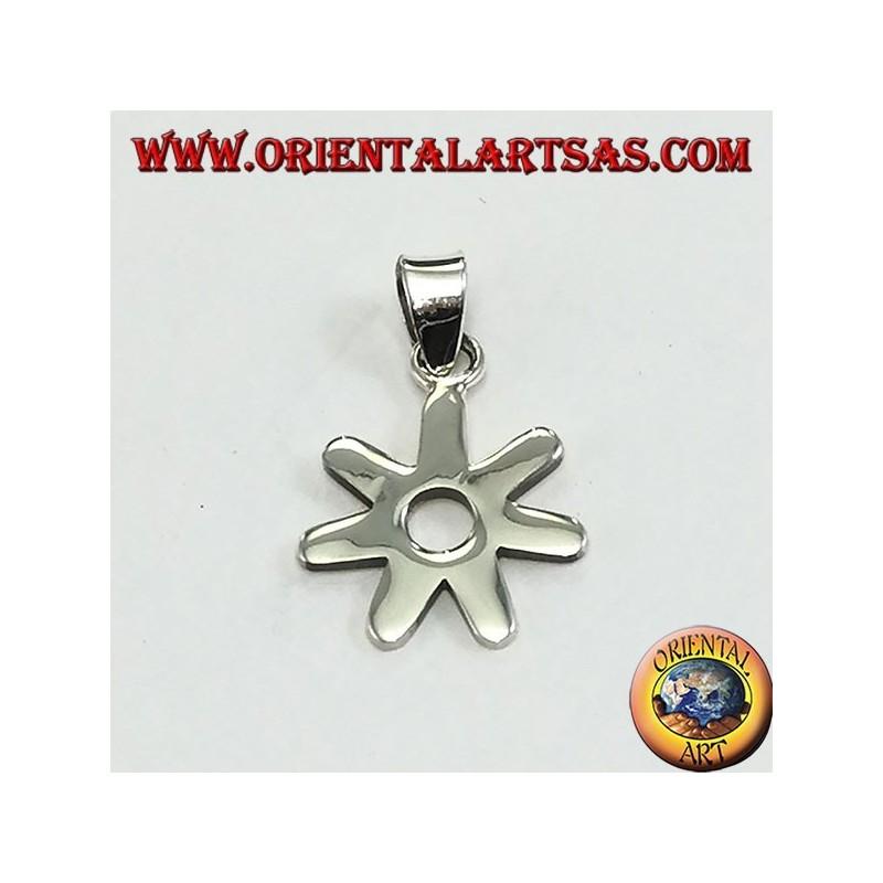 Silver pendant, stylized daisy flower