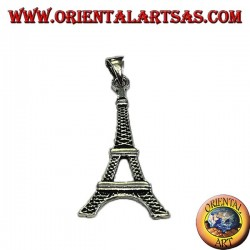 Silver pendant in Eiffel tower, symbol of Paris