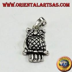 Ciondolo in argento gufo reale sul ramo