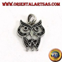 Silver pendant with dotted owl