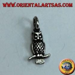 Серебряная подвесная сова на изогнутой ветке