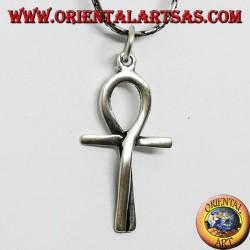 Ciondolo in argento croce egizia ankh intrecciataave della vita ) intarsiata