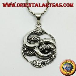 Colgante de plata, talismán de Auryn Ouroboros (grande)