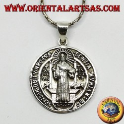 Pendentif en argent Médaillon de saint Benoît