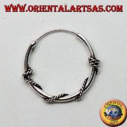 Orecchino in argento, cerchio lavorato serpentina attorcigliata, 18 mm