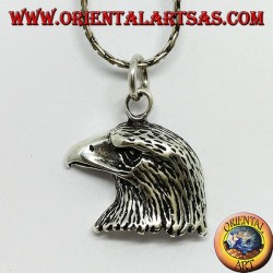 Silver pendant, head of a golden eagle