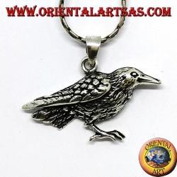 Ciondolo in argento corvo uccello sacro di Odino