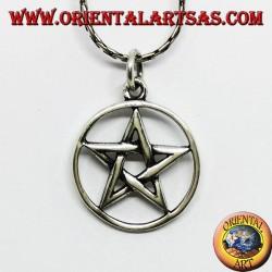 Ciondolo in argento a pentacolo stella intrecciata nel cerchio, medio