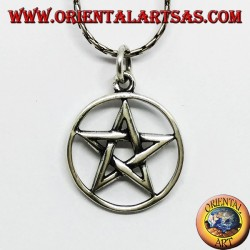 Silver pendant in pentacle star braided in the circle, medium