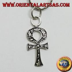 Ciondolo in argento croce ankh con geroglifici, croce dell'amore