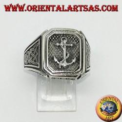 Anello d'argento sigillo àncora con nodo di celtico