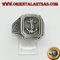 Silver ring seal with anchor with Celtic knot
