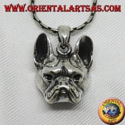 Ciondolo in argento, testa di bulldog cane
